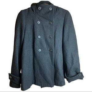 Zara  Wool Blend Double Breasted Peacoat Size M
